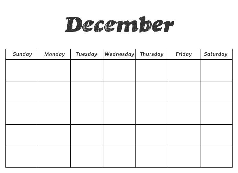 Kindergarten December Calendar Template : Printable preschool calendars
