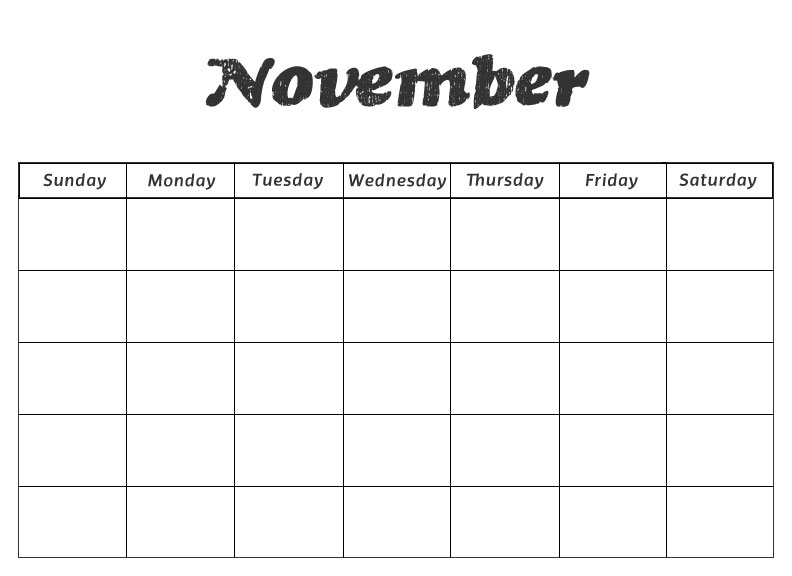Blank November Calendar For Kids : Blank january calendar kindergarten new